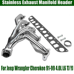 For Jeep Wrangler Cherokee 91 99 4 0l L6 Tj Yj Stainless Exhaust Manifold Header
