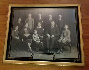 Antique Reverse Paint Glass Picture Frame Holds 8 X 10 Photo Black Gold