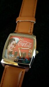 Coca Cola Watch  soda shop theme  brand new.Light brown strap.
