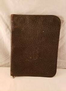 Vintage Large Leather 3 Ring Portfolio With 2 Pockets Conmar Usa Zipper