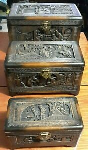 Antique Oriental Chinese Carved Wood Chest Jewelry Treasure 3 Pc Set