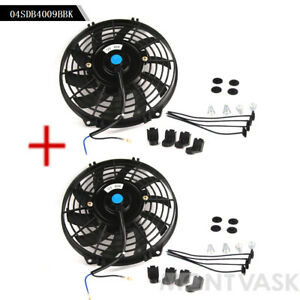 9 Fit For Universal Slim Fan Push Pull Electric Radiator Cooling 12v 80w Mount
