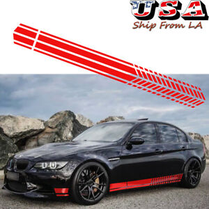 Red Racing Stripe Body Side Skirt Vinyl Graphic Decal Sticker For Car Truck Suv