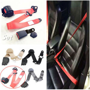 Red 3 Point Retractable Car Safety Seat Belts Lap With Curved Rigid Buckle Set