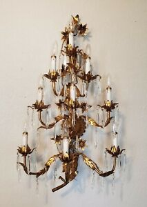 Vintage Hollywood Regency Tole 9 Arm Electric Gold Floral Wall Sconce Free Ship