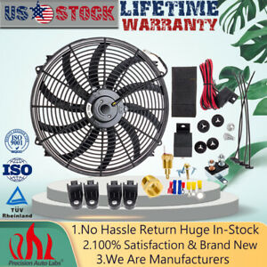 16 Inch 12v Electric Radiator Cooling Fan High Cfm Thermostat Relay Switch Kit
