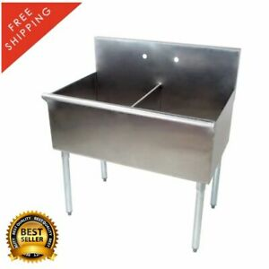 36 Stainless Steel Commercial Utility Prep Sink 2 Compartment 18 X 21 X 14