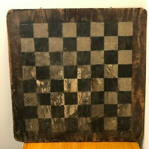 Early Handmade Wooden Checkerboard Original Paint Primitive Untouched