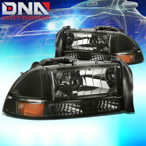 For Dodge 97 04 Dakota 98 03 Durango Euro Smoked Housing Amber signal Headlights