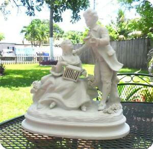 Vintage Heavy French Porcelain Bisque Figurines Statue Romantic Victorian