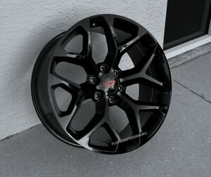 Gloss Black Snowflake Chevy Silverado Tahoe Truck Wheels Set 22x9