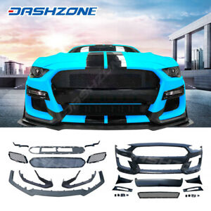 Gt500 Style Pp Front Bumper Body Kit Lip Grill Fit 2018 2020 Ford Mustang