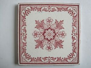 Antique Victorian Pink Red Aesthetic Transfer Print Tile Sherwin