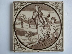Antique Victorian Malkin Edge Seasons Winter Transfer Print Tile C1880