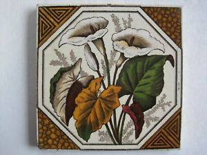 Antique Victorian Print And Tint Wall Tile Arum Lilies C1887 Pattern A27