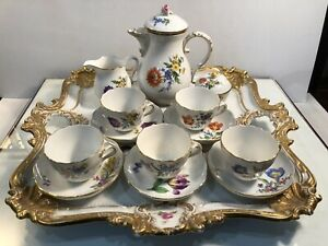 Meissen Gilded 16 Piece Floral Tea Set For 5 Creamer Sugar Antique Tray