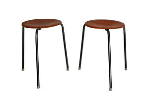 2 Fritz Hansen Jacobsen Vtg Mid Century Danish Modern Tripod Dot Stool Table Dwr