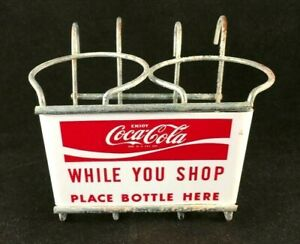 COCA COLA WHILE YOU SHOP SHOPPING CART DRINK HOLDER Rare Old Advertising Sign