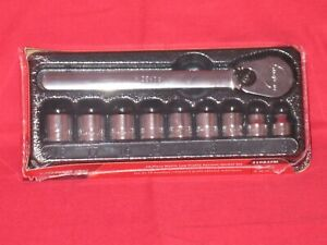 Snap on 3 8 Drive 10 Pc Metric Low Profile Ratchet Socket Set In Tray