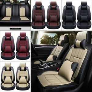 12pc Car Seat Cover Set Universal 5 seat Protector Pu Leather Headrest Accessory