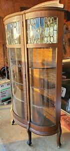 Antique Victorian Oak Beautiful Leaded Curved Glass China Curio Display Cabinet