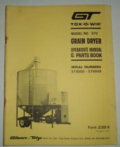 Gt Tox o wik 570 Grain Dryer Operators Parts Manual Book Catalog Original