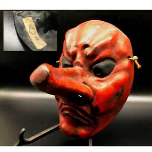 Japan Vintage Pottery Tengu Mask Karura Facet Kagura Buddhist Statue Temple A
