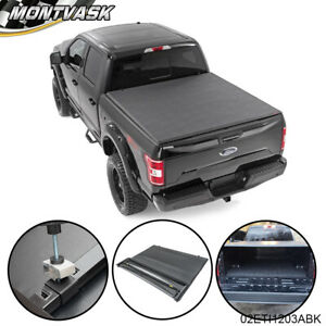 Soft Lock 4 fold Tonneau Cover For 2004 2008 Ford F 150 Extra Crew Cab 5 5ft Bed