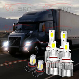 6pc Led Headlight Fog Bulb Hi lo Pkg For Volvo Vnl Vnm 630 670 730 780 2004 2015