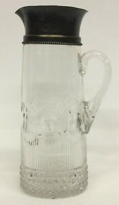 12 Antique Glass Crystal Carafe Pitcher Decanter Silver Plate Top B25