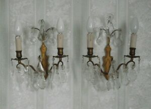 Elegant Pair Antique French 1920s Rococo Style Double Crystal Wall Sconces 1753