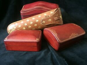 Florentine Leather Jewelry Box Grouping Dark Red With Gold Italy