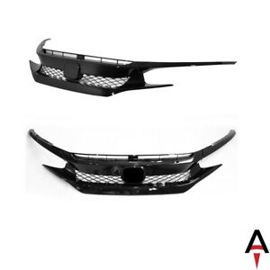 Type r Style Front Bumper Set W Glossy Black Grille For 16 18 Civic Coupe Sedan