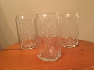 COCA-COLA CAN SHAPED GLASSES - LOT OF 3 - CLEAR W/RAISED LETTERING - FREE SHIP