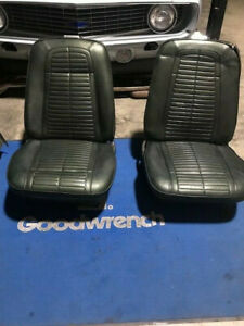 Bucket Seats 69 Firebird Or Camaro Pair With Tracks Driver Quality Dark Green
