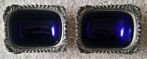 Vintage Barker Ellis Salt Cellars With Cobalt Glass Silverplate England