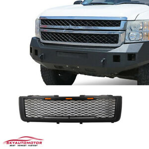 Fits 2011 2014 Chevy Silverado 2500 3500hd Front Grille With Lights Matte Black