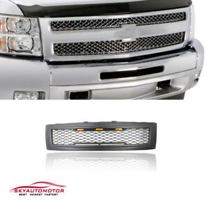 Fits For 2007 2013 Chevy Silverado 1500 With Lights Grille Matte Black