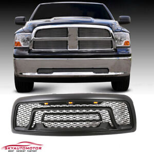 Fits 2009 2012 Dodge Ram 1500 With Lights And Letters Grille Grill Matte Black