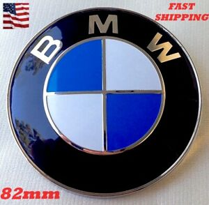 Bmw 82mm Front Hood Rear Trunk Emblem Logo Badge With 2 Pin Grommets Rubber