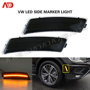 For Vw Tiguan 2018 Beetle 12 19 Led Front Bumper Side Marker Light Smoked Amber