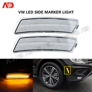 For Vw Beetle 2012 19 Tiguan 18 Clear Led Front Bumper Side Marker Light Amber