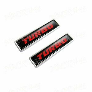 For 2pcs Turbo Emblem Luxury Auto Car Body Fender Metal Badge Sticker Decal