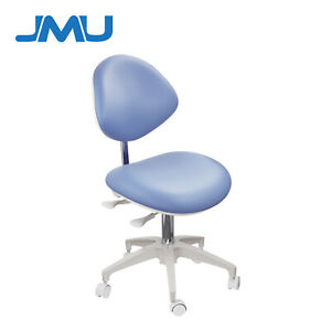 Dental Mobile Medical Chair Doctor s Stools With Backrest Pu Leather Blue Color