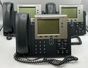 lot Of 3 Cisco 7942 Business Phone Tested W Warranty