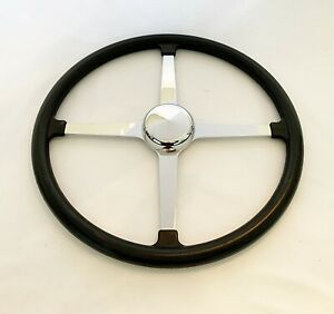 Traditional Vintage 4 Spoke Track Style Steering Wheel 15 Rubber Grip