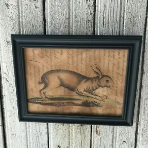 New Primitive Grungy Running Rabbit Bunny Print Spring Easter Country