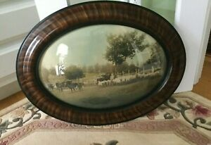 Antique Oval Tiger Wood Frame Convex Bubble Glass 25 X 19 Farm Scene