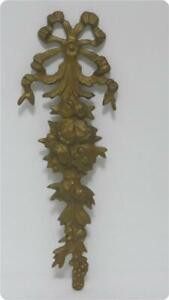Vtg Brass Bow Ribbons Flowers Picture Frame Wall Pediment