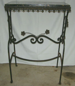 Vintage 1930 S Entrance Hall Wrought Iron Console Table W Black Gold Marble Top